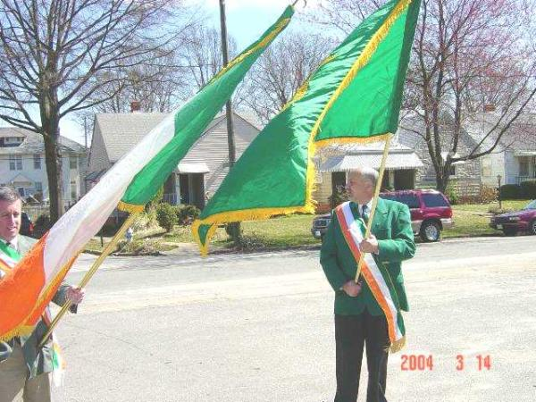 Tom Murphy with the Fenian flag