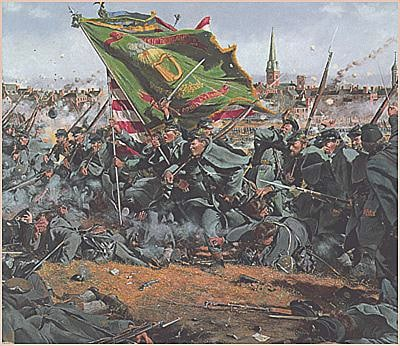 THE 28TH MASSACHUETS OF THE IRISH BRIGADE CHARGING UP THE HILL AT FREDRICKSBURG