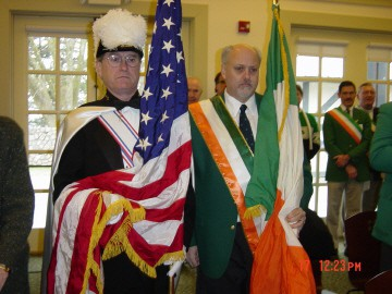 Vince Eikmeier with Old Glory and Tom Murphy with the Tricolor