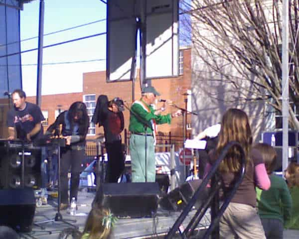 Jack Cassells, Grand Marshall of Irish Festival 2009, Chair of AOH Irish Trip Raffle for 2009 and AOH Historian and long-time member announcing the winner of the Irish Trip Raffle for 2009