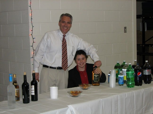 Membership Chairman Mitch Irvine and future AOH member attending to the refreshments.